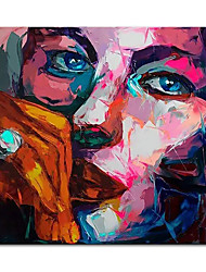cheap -Oil Painting Handmade Hand Painted Wall Art Square Modern Francoise Nielly Knife Abstract Portrait Face Figure Posters Home Decoration Decor Rolled Canvas No Frame Unstretched