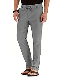 cheap -men's business pants classic fit,cotton stretch pants comfort solid color elastic waist straight-fit chino pant