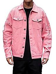 cheap -men's denim jacket long sleeve distressed ripped jean coat slim fit button down unisex trucker jackets