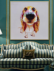 cheap -Oil Painting Handmade Hand Painted Wall Art Mintura Modern Abstract Animal Dog Picture For Home Decoration Decor Rolled Canvas No Frame Unstretched