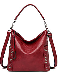 cheap -Women's Bags PU Leather Tote Crossbody Bag Zipper Solid Color Daily Outdoor Retro Leather Bag Tote Gray Green Black Red