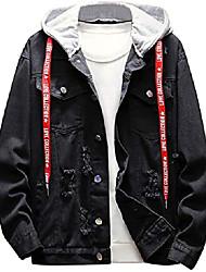 cheap -men's denim hoodies jacket long sleeve loose fit outwear coat for autumn winter