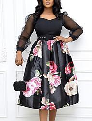 cheap -Women's A Line Dress Knee Length Dress Black Long Sleeve Floral Print Fall Summer V Neck Casual 2021 M L XL