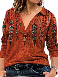 cheap -Women's Plus Size Tops Blouse Shirt Butterfly Geometry Print Long Sleeve V Neck Streetwear Fall Blue Gray khaki Big Size L XL XXL 3XL 4XL