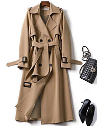 cheap -Women's Trench Coat Daily Fall Winter Long Coat Regular Fit Warm Fashion Classic Jacket Long Sleeve Plaid Lace up Blue Camel / Spring / Work / Patchwork