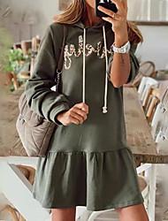 cheap -Women's A Line Dress Short Mini Dress Green Long Sleeve Letter Ruffle Print Fall Winter Hooded Casual Regular Fit 2021 S M L XL XXL