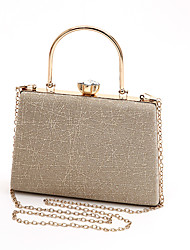 cheap -Women's Bags Polyester Alloy Evening Bag Buttons Crystals Geometric Party / Evening Date Evening Bag Silver Gold