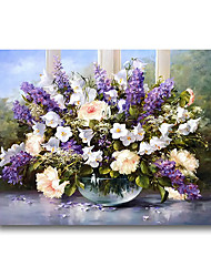 cheap -Rolled Canvas Poster Painting Modern Abstract Wall Art Deco Large Purple Flowers Lavender No Frame