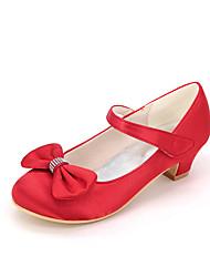 cheap -Girls' Heels Flower Girl Shoes Satin Big Kids(7years +) Little Kids(4-7ys) Toddler(2-4ys) Wedding Butterfly Magic Tape Blue Purple Red Spring Summer