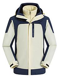cheap -Men's Hiking 3-in-1 Jackets Ski Jacket Hiking Fleece Jacket Winter Outdoor Solid Color Thermal Warm Waterproof Windproof Warm Hoodie Windbreaker Trench Coat Full Length Visible Zipper Fishing