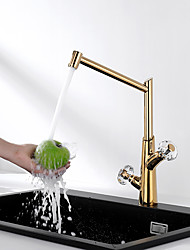 cheap -Two Handle Golden 360 Degree rotatable Kitchen Sink Faucet Mixer Tap Copper Brass Body