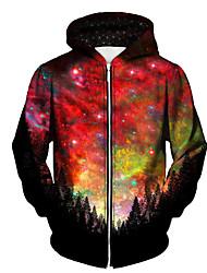 cheap -Men's Full Zip Hoodie Jacket Graphic Prints Galaxy Star Print Zipper Print Daily Sports 3D Print Casual Streetwear Hoodies Sweatshirts  Red