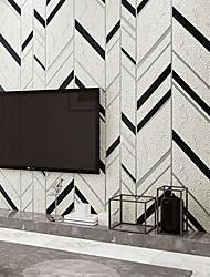 cheap -Wallpaper Wall Covering Sticker Film  Embossed Stripe  Non Woven High-grade Striped Deerskin Velvet Home Deco 53*950CM