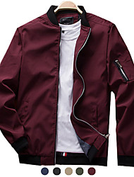 cheap -Men's Softshell Flight Bomber Jacket Military Tactical Jacket Slim Fit Casual Outdoor Solid Color Sun Protection Quick Dry Lightweight Breathable Trench Coat Outerwear Top Full Zipper Hunting Fishing