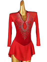 cheap -Figure Skating Dress Women's Girls' Ice Skating Dress Purple Red Open Back Patchwork Spandex High Elasticity Training Competition Skating Wear Classic Long Sleeve Ice Skating Figure Skating / Kids
