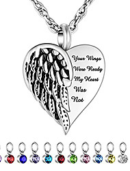 cheap -angel wing urn necklace for ashes 12 pcs birthstones cremation jewelry heart memorial pendant keepsake ash holder for men/women