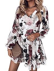 cheap -Women's A Line Dress Short Mini Dress White Light gray Black Long Sleeve Print Color Block Leopard Ruched Patchwork Print Fall V Neck Casual 2021 S M L XL XXL 3XL