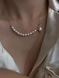 cheap -Pendant Necklace Pearl Necklace Women's Classic Pearl White 18K Gold Plated Vertical / Gold bar Simple Basic Fashion Vintage Sweet Lovely Gold 46 cm Necklace Jewelry 1pc for Wedding School Gift Daily