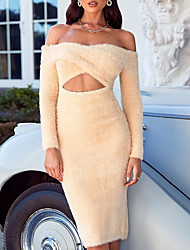 cheap -Women's A Line Dress Knee Length Dress Beige Long Sleeve Solid Color Hollow To Waist Fall Off Shoulder Elegant Casual 2021 XS S M L