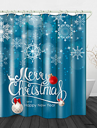 cheap -Christmas Snowflakes Printed Waterproof Fabric Shower Curtain Bathroom Home Decoration Covered Bathtub Curtain Lining Including hooks.
