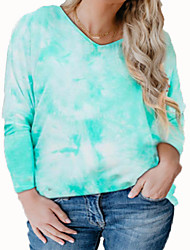 cheap -Women's Plus Size Tops Blouse Shirt Tie Dye Print Long Sleeve V Neck Streetwear Fall Blue Purple Green Big Size L XL XXL 3XL 4XL