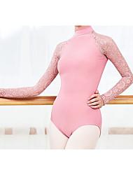 cheap -Ballet Dance Costumes Activewear Leotard / Onesie Lace Hollow-out Solid Women's Training Performance Long Sleeve Nylon Cotton Blend Chinlon