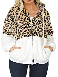 cheap -Women's Plus Size Tops Hoodie Sweatshirt Leopard Zipper Pocket Long Sleeve V Neck Streetwear Fall Winter Wine White Black Big Size L XL XXL / Print
