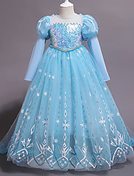 cheap -Kids Little Girls' Dress Sequin Snowflake A Line Dress Special Occasion Performance Sequins Sparkle Blue Midi Long Sleeve Princess Costume Dresses Halloween Fall Spring Slim