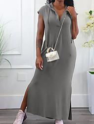 cheap -Women's A Line Dress Maxi long Dress Blushing Pink Gray Sleeveless Solid Color Backless Split Fall Summer V Neck Casual Sexy 2021 S M L XL XXL