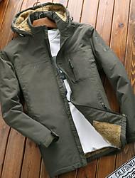 cheap -Men's Outdoor Jacket Street Outdoor Fall Spring Regular Coat Regular Fit Waterproof Windproof Breathable Casual Jacket Long Sleeve Solid Color Pocket Khaki Black Navy Blue