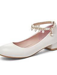 cheap -Girls' Heels Princess Shoes PU Cute Casual / Daily Lolita Big Kids(7years +) Christmas New Year Pearl Buckle White Black Fall Spring