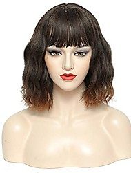 cheap -curly bob synthetic wig with bangs wavy heat resistant fiber glueless 12 inch ombre brown short wigs for black women
