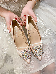 cheap -Women's Wedding Shoes High Heel Pointed Toe Wedding Office Satin Rhinestone Pearl Solid Colored Almond White
