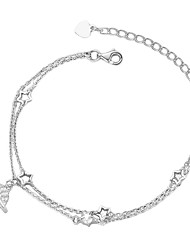 cheap -Women's Bracelet Layered Star Simple S925 Sterling Silver Bracelet Jewelry Rose Gold / White For Wedding