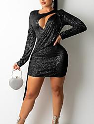 cheap -Women's Sheath Dress Short Mini Dress White Black Red Long Sleeve Solid Color Sequins Fall Summer V Neck Sexy 2021 S M L XL XXL / Party Dress
