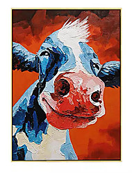 cheap -Oil Painting Handmade Hand Painted Wall Art Modern Smiling Cow Animal Picture Home Decoration Decor Rolled Canvas No Frame Unstretched
