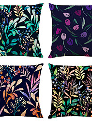 cheap -Colorful Plant Double Side Cushion Cover 4PC Soft Decorative Square Throw Pillow Cover Cushion Case Pillowcase for Bedroom Livingroom Superior Quality Machine Washable Indoor Cushion for Sofa Couch Bed Chair