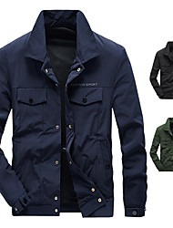 cheap -Men's Military Tactical Jacket Nylon Spandex Outdoor Solid Color Thermal Warm Waterproof Windproof Lightweight Outerwear Trench Coat Top Skiing Ski / Snowboard Fishing Army Green Black Dark Blue