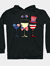 cheap -Women's Plus Size Tops Hoodie Sweatshirt Flag Print Long Sleeve Cowl Neck Streetwear Christmas Christmas Daily Polyster Fall Winter Black