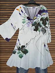 cheap -Women's Plus Size Tops Blouse T shirt Flower Half Sleeve V Neck Vintage Style Elegant Fall Winter White Big Size S M L XL XXL