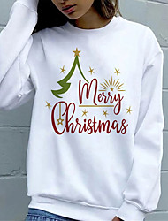 cheap -Women's Plus Size Tops Hoodie Sweatshirt Letter Print Long Sleeve Cowl Neck Streetwear Christmas Christmas Daily Polyster Fall Winter White