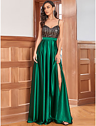 cheap -A-Line Reformation Amante Wedding Guest Formal Evening Dress Sweetheart Neckline Sleeveless Floor Length Satin with Sequin 2021