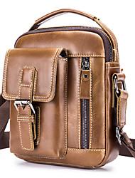 cheap -Men's Unisex Bags Cowhide Crossbody Bag Zipper Vintage Daily Going out Retro Leather Bag Black Brown