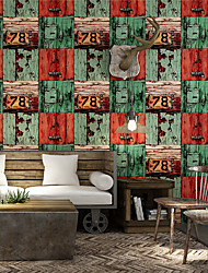 cheap -Wallpaper Wall Covering Sticker Film Faux Wood Sensation Character Vinyl PVC Home Decor 53*1000cm