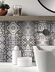 cheap -Khaki Brushed Silver Foil Moroccan Tile Sticker Self-adhesive Kitchen Wall Sticker Metal Texture Tile Wall Sticker