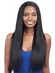 cheap -Wig Female European And American Wig Female Wig Black Medium Long Straight Hair Chemical Fiber Headgear