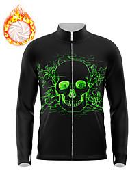 cheap -21Grams Men's Long Sleeve Cycling Jersey Winter Fleece Spandex Black Skull Fluorescent Bike Top Mountain Bike MTB Road Bike Cycling Fleece Lining Warm Moisture Wicking Sports Clothing Apparel