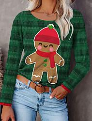 cheap -Women's Christmas Painting T shirt Graphic Bear Print Round Neck Basic Christmas Tops Green / 3D Print