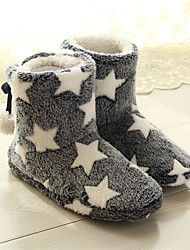 cheap -Christmas Star Women's Fuzzy Faux Plush Soft Fur Memory Foam Cozy Flat Spa Slide Slippers Comfy Home Slipper Indoor Shoes