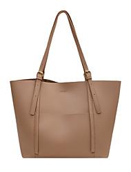 cheap -Women's Bags PU Leather Tote Top Handle Bag Zipper Plain Solid Color Vintage Daily Outdoor Retro Leather Bag Handbags Blue Khaki Black Brown